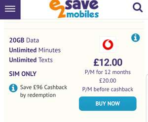 20GB Vodafone SIMO Unltd Mins/Texts £20pm - £240 (£12pm after cashback!) @ E2save