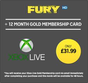 Xbox Live 12 Months Subscription & Fury HD Movie £31.99 @ Rakuten