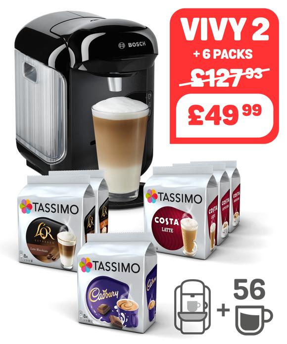 Tassimo Vivy 2 + 56 Drinks! £49.99