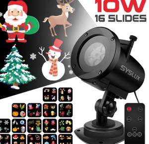 Christmas Projector Light, 16 Exclusive Design Slides 10W IP65 Waterproof Landscape Motion Projector Lights with Remote Control, 32ft Power Cable £22.99 - Sold by RiboEU and Fulfilled by Amazon.