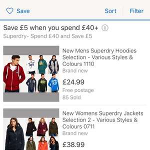 Superdry ebay store - spend £40+ and save £5