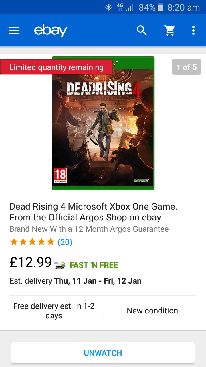 Xbox One Dead Rising 4 £12.99 @ Argos Ebay Store
