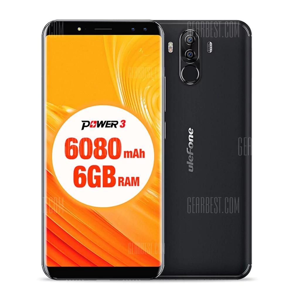 Ulefone Power 3 4G Phablet 6GB RAM + 64GB ROM Hi-Fi Face Recognition Quad Cameras 6080mAh Battery Corning Gorilla Glass 4 Screen OREO update - £165 @ Gearbest