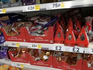 Chocolate coins all varieties 25p at Tesco instore