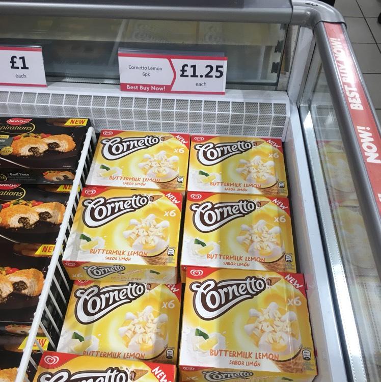 Cornetto buttermilk and lemon 6*90ml £1.25 Heron in store