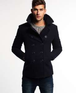 Superdry Rookie Pea Coat Navy or Black - Superdry ebay store - £38.99