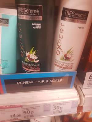 50p for 2 bottles of Treseme expert botanique shampoo or conditioner (currently on- Buy one get one free)  at superdrug