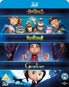 Coraline / Paranorman / Boxtrolls box set 3D Blu-ray £10 at Zoom or £9 for new customers