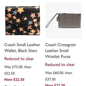 Coach bags and purses £22.50 @ John lewis in store