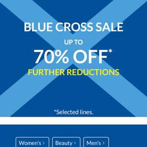 Debenhams 70% Off Blue Cross Sale -Further Reductions inc in-store