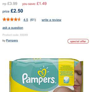 Pampers newborn 22 pack, (2-5kg/ 4-11lbs) £2.50 at Mothercare