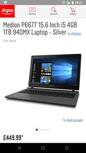 Medion P6677 15.6 Inch i5 4GB 1TB 940MX Laptop £449.99 - Argos