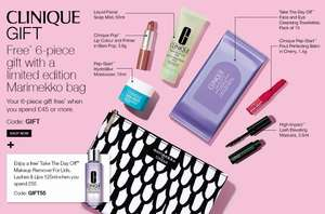 Gift time at Clinique - Six piece gift set and bag with £45 spend with code