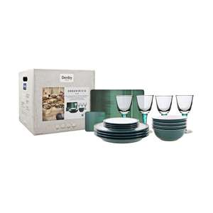Denby - Greenwich 12 piece Dinner Set PLUS 4 Greenwich Wine Glasses + 4 Place Mats + 4 Coasters was £250 now £75 Del / C+C @ Debenhams
