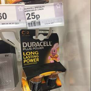 Duracell plus power C2 twin pack batteries 25p in superdrug - Kilburn