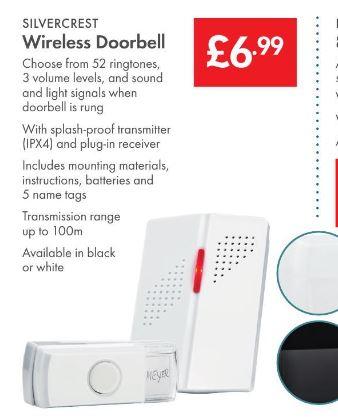 Wireless Doorbell £6.99 - LIDL (Silvercrest) - 3 Year Warranty