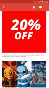 20% off all orders @ qwertee.