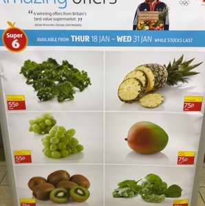 Aldi Super 6 Thursday 18th January - Wednesday 31st January Shredded Kale 200g - 55p Snack Pack Grapes 170g - 55p Kiwi Fruit 6 Pack - 75p Pineapple Each - 75p Loose Mango Each - 75p Unwashed Spinach