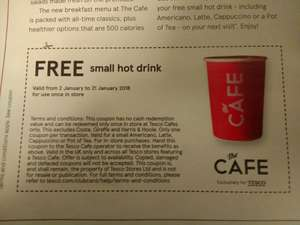 Free coffee at Tesco Cafe voucher inside Tesco magazine