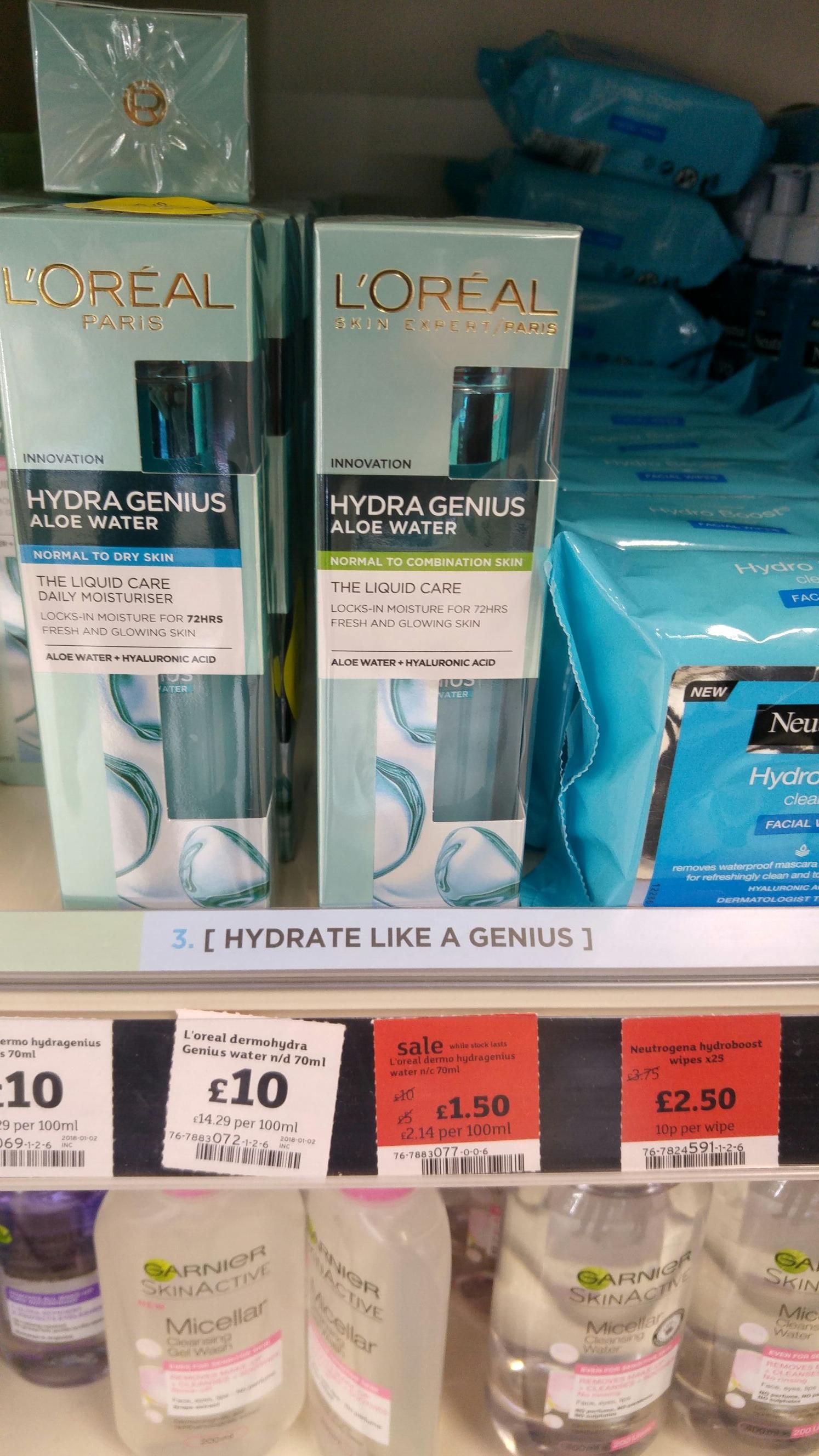 L'oreal hydra genius aloe water moisturiser £1.50 Sainsburys Abbey Wood instore