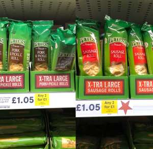 Peters sausage roll 2 for for £1 in Tesco instore