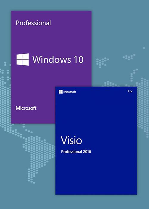 Windows10 Pro OEM + Visio Professional 2016 CD Keys Pack £25.07 @ SCDKey