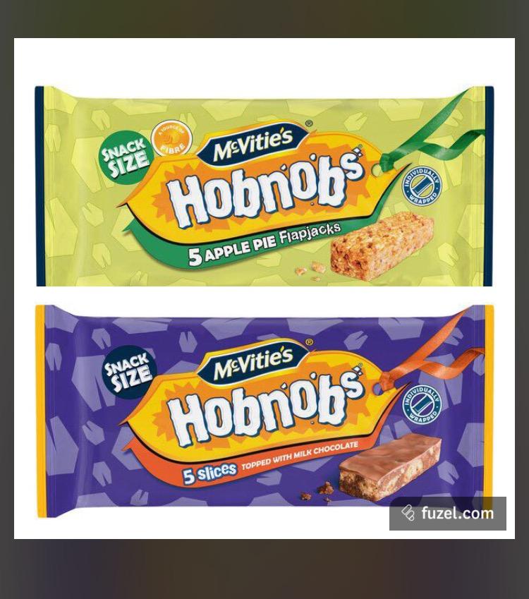 Mcvities hobnob flapjack 5pack x 3 packs £1 @ Heron or 39p each apple pie / milk chocolate