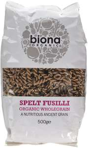 Biona Organic Wholewheat Spelt Fusili 500g (Pack of 5) - Amazon add-on item - £2.85
