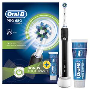 Oral B Pro 650 Electric Toothbrush – Black/Pink + Pro-Ex Toothpaste 75ml  was £24.99 now £18.99 Free C+C @ Robert Dyas