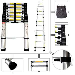 Todeco - Telescopic ladder -12.5ft / 3.8m | £68.99 | Easy Foldable Ladder and can be stored anywhere!!! | @ Sold by Wizideal and Fulfilled by Amazon.