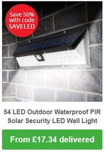 Large 54 LED Outdoor Waterproof Garden PIR Motion Sensor Solar Recharged Security 3 Mode LED Wall Light @ 7dayShop