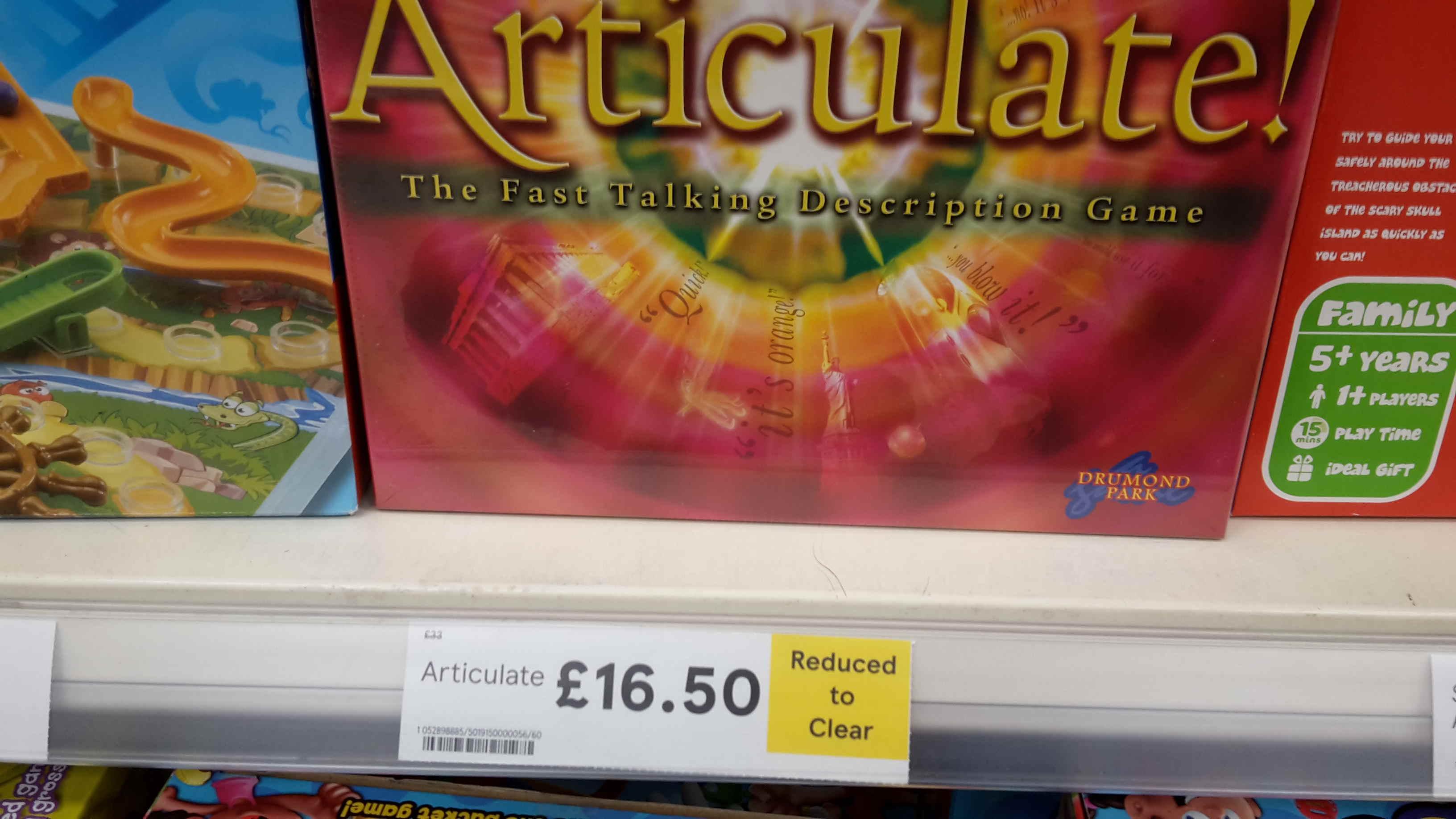 Articulate game. £16.50 instore Tesco Northampton