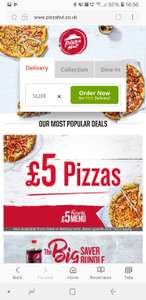 Pizza Hut Delivery £5.00 favorite medium pizza or sides/ £10 off £25 spend