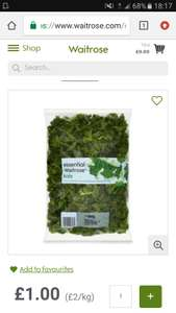 Waitrose kale large 500g bag £1