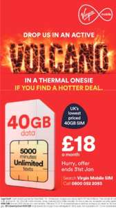 Virgin Mobile 40GB Sim Only Deal Deal - 12 Month Contract - 5000 Mins -  Unlimited Texts and all the other EXTRAS - £18 per month (£216 for the year) -  Now Live