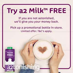 A2 milk on Try Me free. Buy for between £1 and £1.20, then claim your money back = FREE