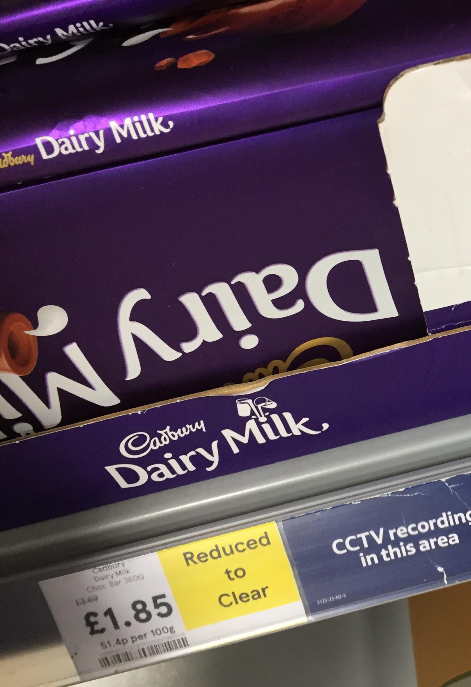 Cadbury Dairy Milk 360g £1.85 @ Tesco