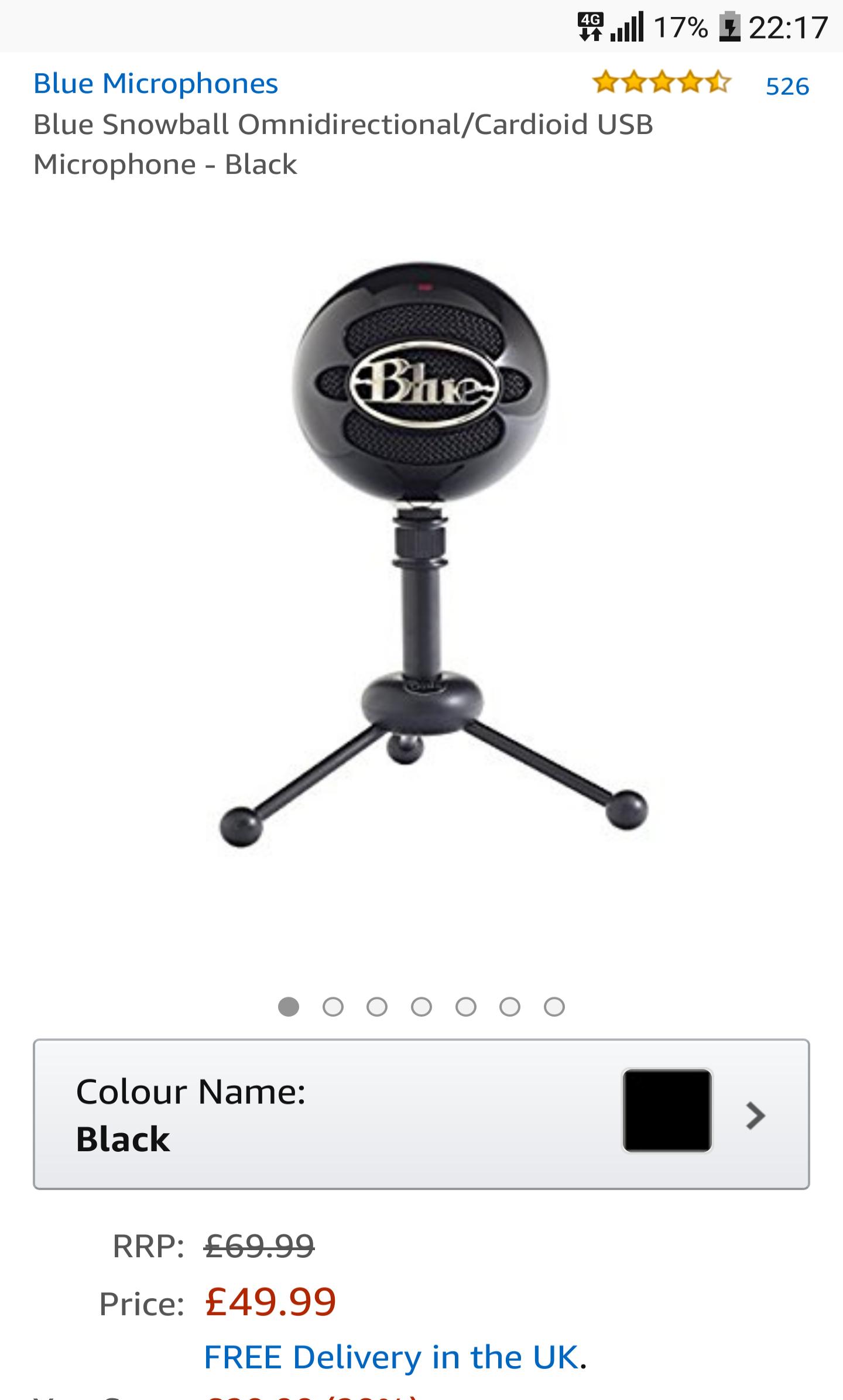 Blue Snowball USB Mic (Original) Omni Directional Cardiod - £49.08 @ Amazon