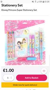 Disney Princess super stationary set £1 at Poundshop.com plus £4.95 delivery. See full post for other deals on site as its only worth ordering if you are buying many items