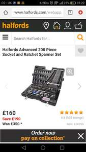 Halfords Advanced 200 Piece Socket and Ratchet Spanner Set @ Halfords for £160