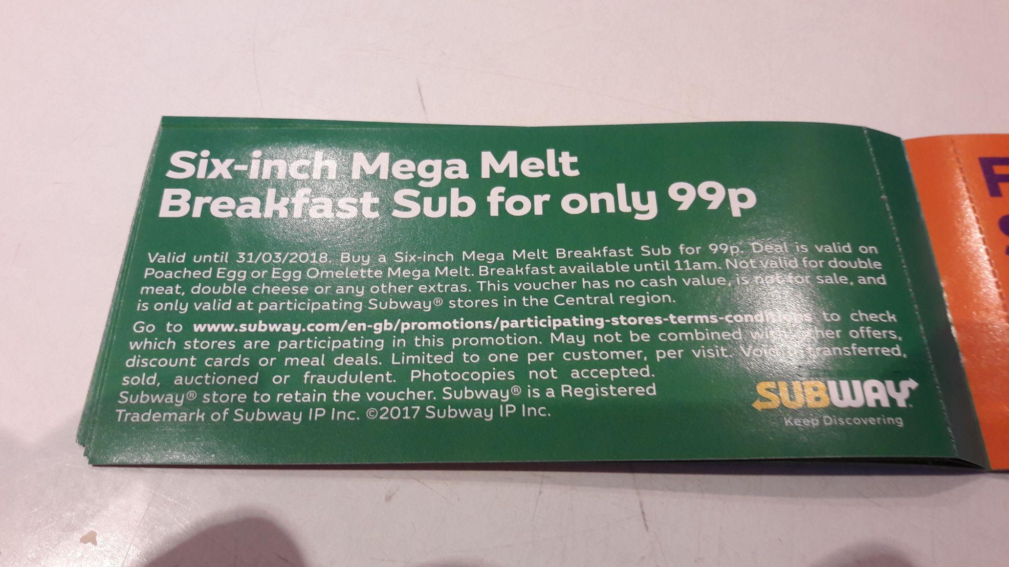 Six inch mega melt breakfast sub for just 99p @subway