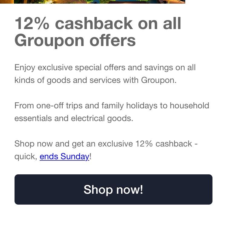 Quidco - 12% cashback @ Groupon