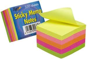 Tiger 2-Inch/5 cm Square Sticky Memo Note - Neon (Pack of 350 Sheets)- reduced to £1.71 @ Amazon (Add-on) - Sold and Fulfilled by Baby Craft