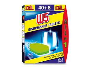 W5 dishwasher tab 7.25p/ tab or £3.19 for 44 @ Lidl.