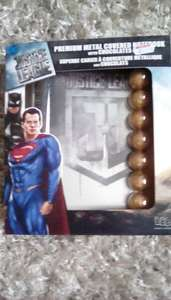 Justice league metal covered notebook + chocolates 87p INSTORE @ wilkinsons