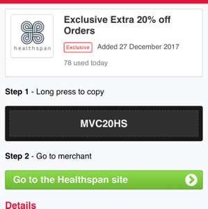 Healthshop 20% off free Delivery plus quidco cashback plus winter sale