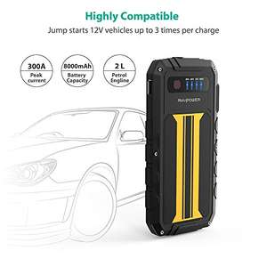 RAVPower 300A 8000mAh car battery, Emergency Battery Booster - £23.99 (Lightning Deal) @ Sold by Sunvalleytek-UK and Fulfilled by Amazon