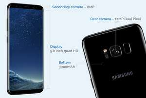 Samsung S8 (on pay monthly) £125 upfront cost with £10 code off code (DEALYENVY10), plus TCB & Free Gear Fit 2 & Free delivery @ Mobiles.co.uk