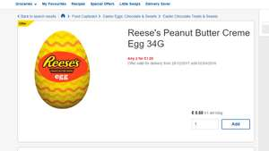 Reese's Peanut Butter Creme Egg 34G 50p Each Or 3 For £1 at Tesco