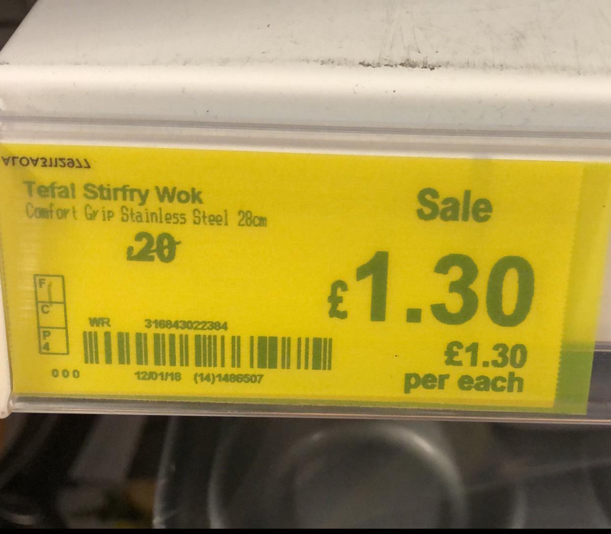 Tefal 28cm Comfort Grip Stainless Steel Wok was £20 now £1.30 instore @ Asda